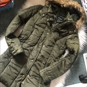 NWT Long Winter Coat with Faux Fur Hood